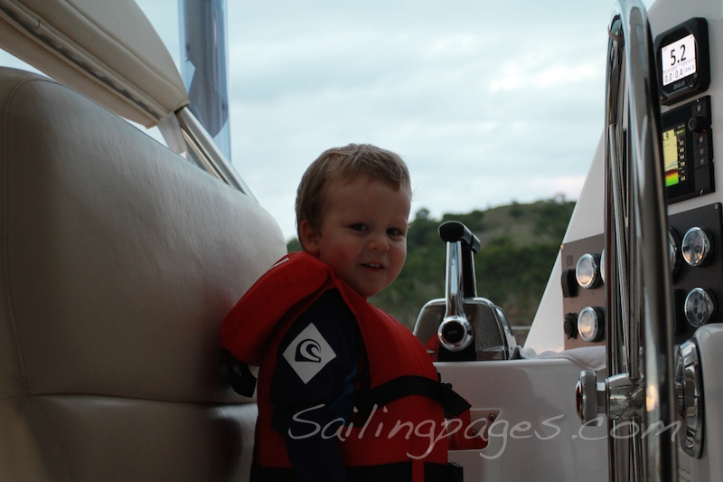 Eli helping turn the anchor light on.